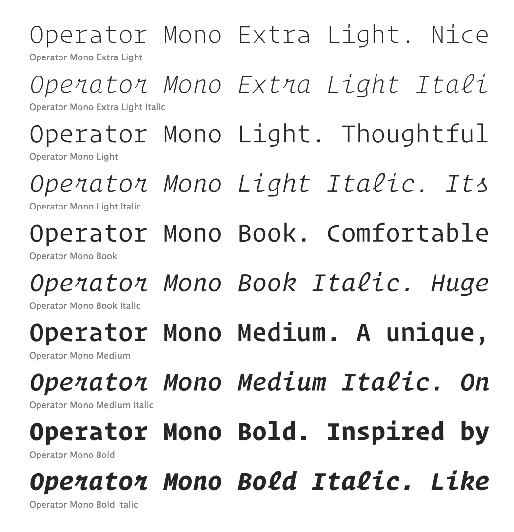 Operator Mono and Alternatives – Eric L  Barnes