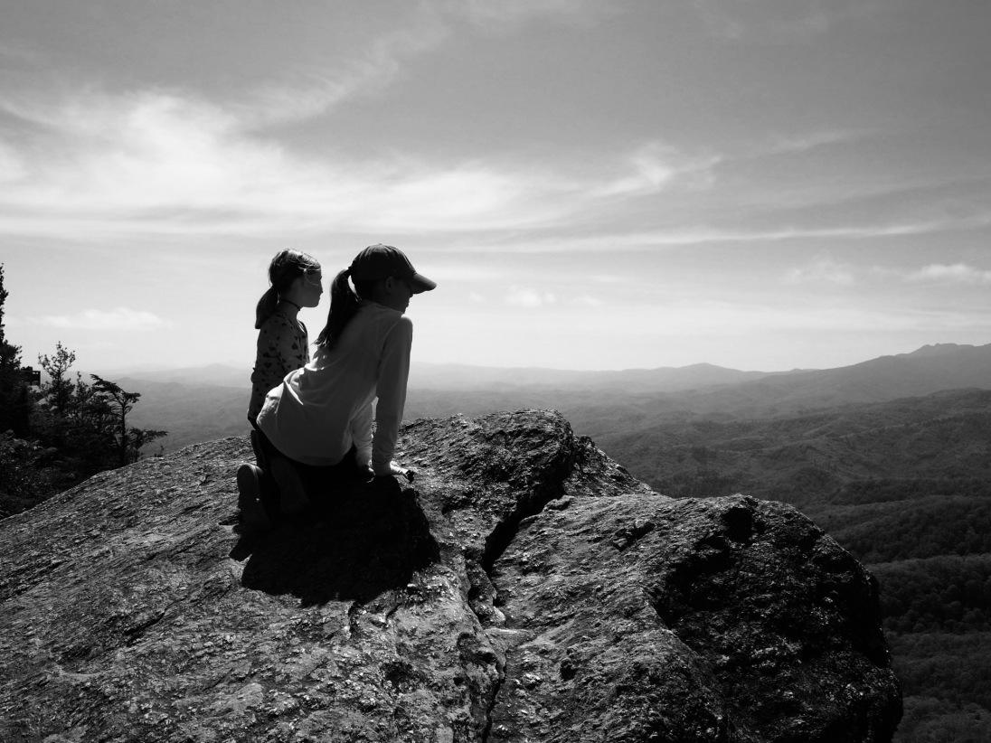 Kids on top of Blowing Rock